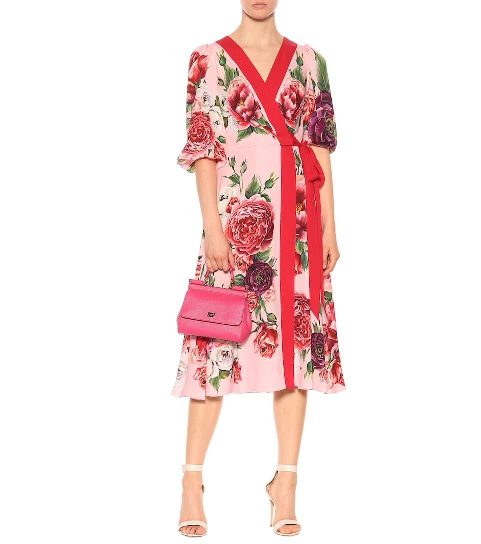 Marque Nouveau Débouché Unisexe Acheter Pas Cher Boutique Dolce & Gabbana - Robe portefeuille en soie stretch imprimée confortable ooSfnSDR