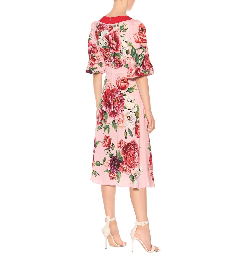 Dolce & Gabbana - Robe portefeuille en soie stretch imprimée Dédouanement Prix De Gros Livraison Gratuite Le Moins Cher confortable Acheter Pas Cher Boutique Hj8BspTC