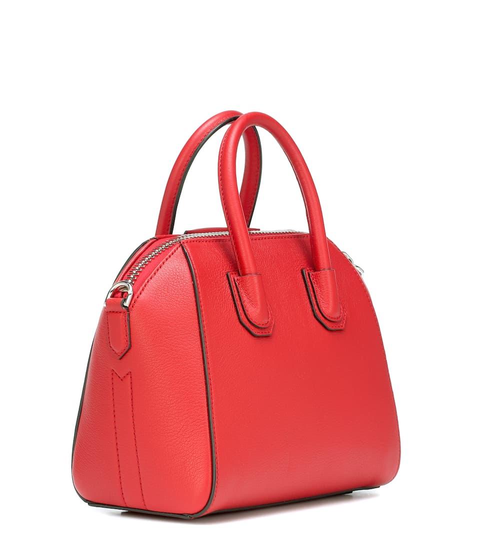 brillante bandolera de Mini Antigona rojo cuero Givenchy RgBqxw