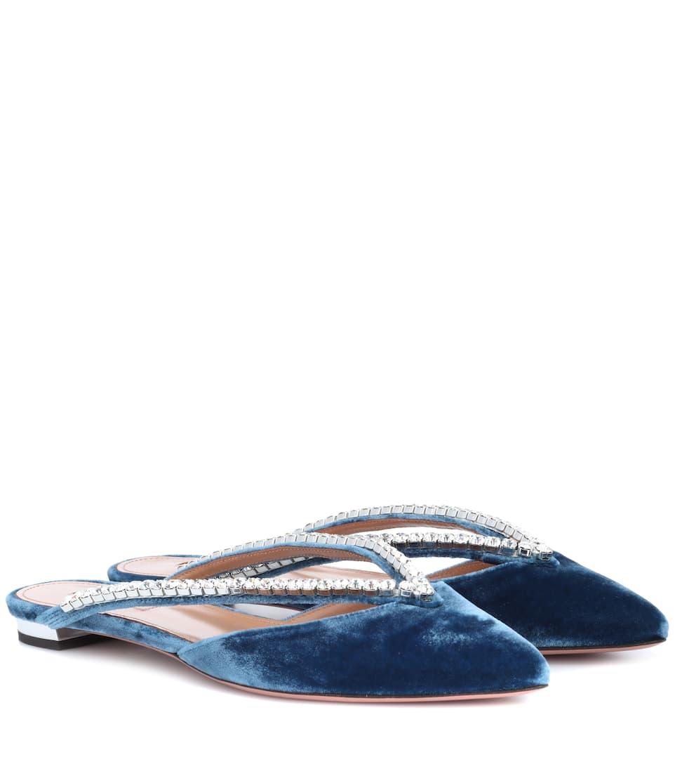 Aquazzura Sabine embellished velvet slippers buy cheap hot sale eastbay online discount great deals discount manchester great sale X4U4TQA