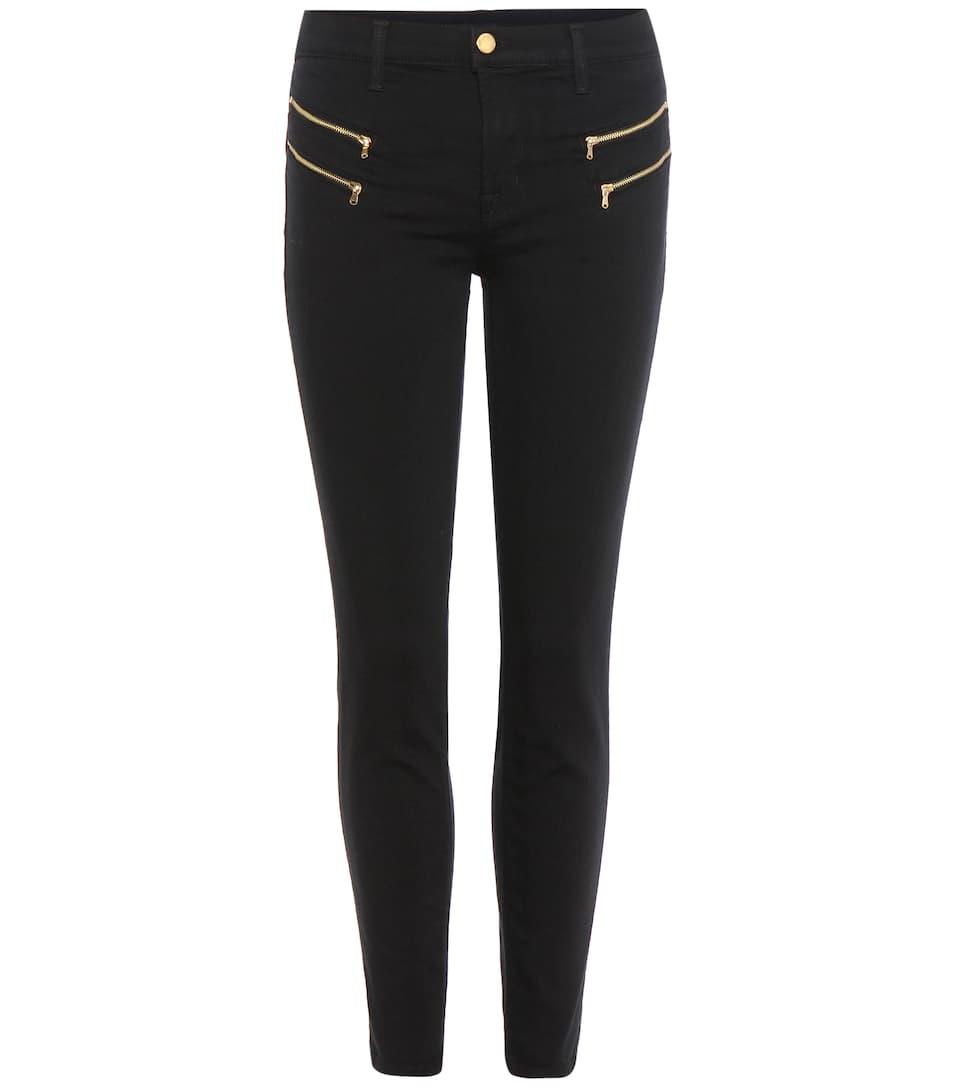 J Brand Carina Mid-rise Moto Skinny jeans