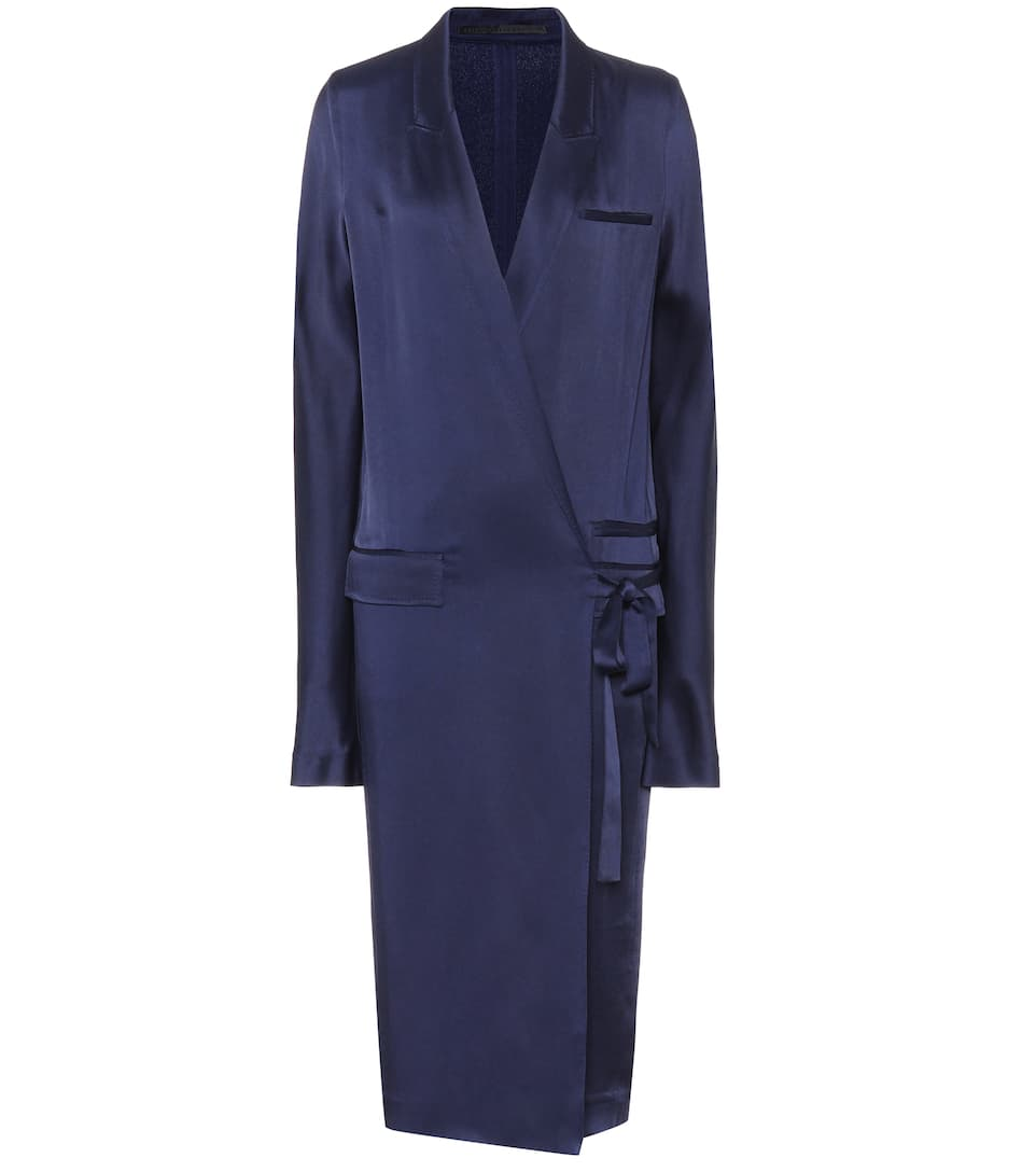 Haider Ackermann Kuiper Peak Lapel Tie-waist Satin Dress In Blue
