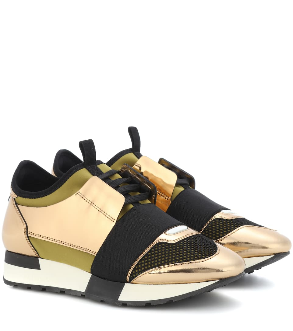 Race Runner Sneakers with Metallic Leather and Satin