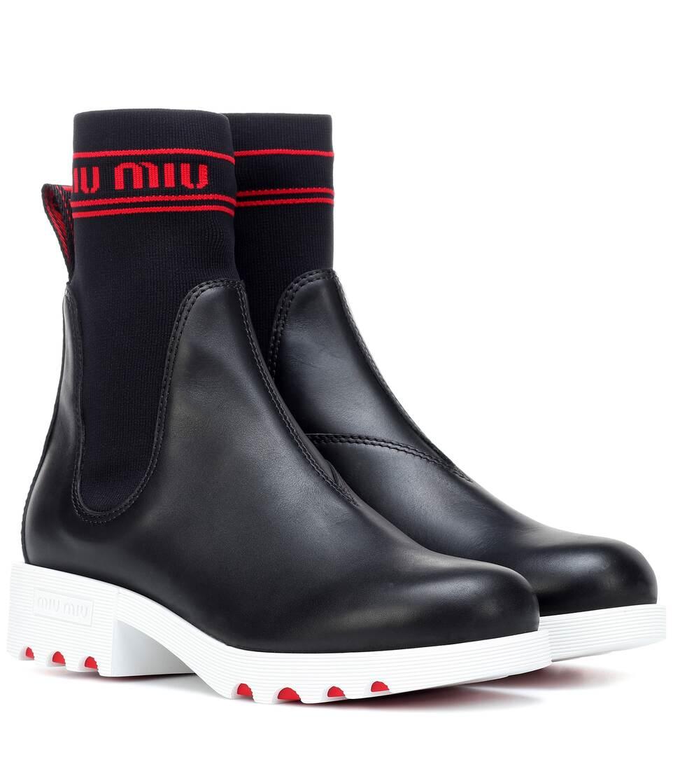 0a22c67a4682 Leather Ankle Boots - Miu Miu