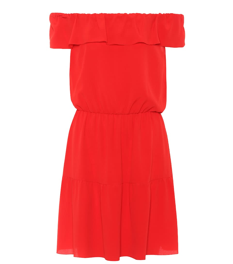 REDValentino Off-Shoulder-Kleid mit Seidenanteil