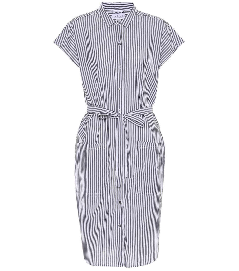 Sonay Striped Cotton Shirt Dress Velvet Mytheresa