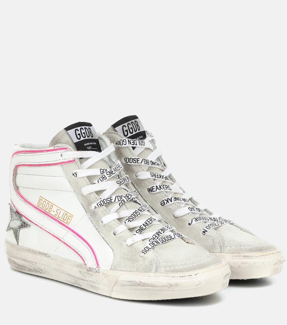 Sneakers alte Slide in pelle e suede