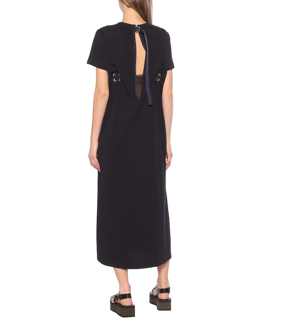 Sacai - Cotton jersey midi dress