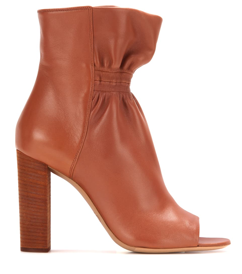 Chlo leather peep toe ankle boots - My peep toes ...