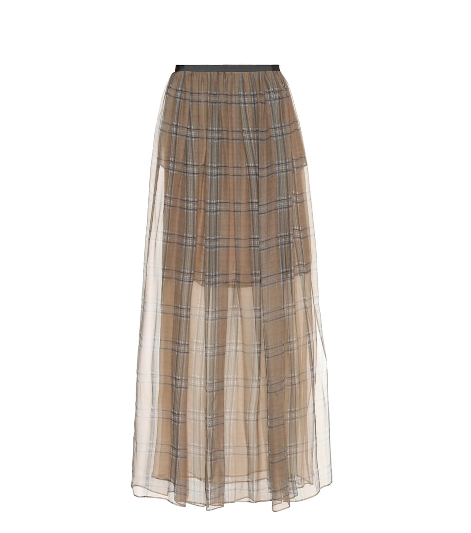 CHECKED SILK SKIRT