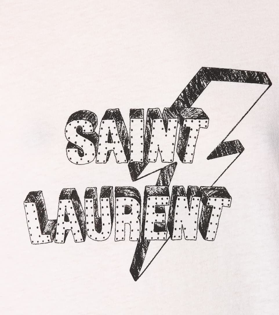 estampada Negro Laurent Saint algodón de Blanco Camiseta qEwPn