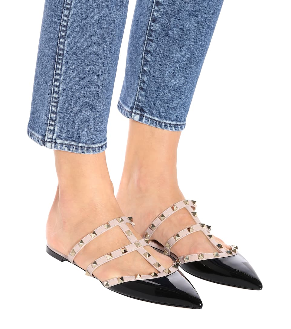 bd10cd27911 Valentino Garavani Rockstud Patent Leather Slippers - Valentino ...