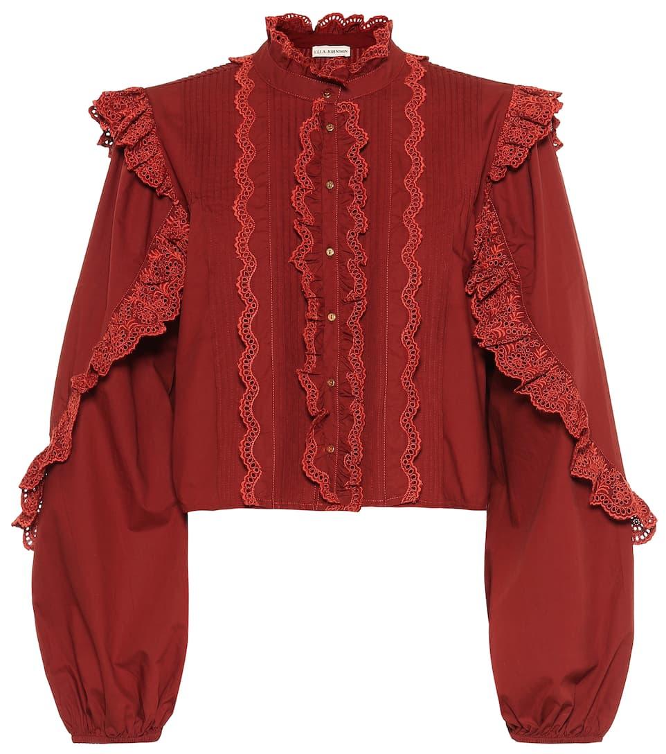 Cotton Ruffle Mytheresa The Sweatshirt Burdeos 6yIbfgY7v