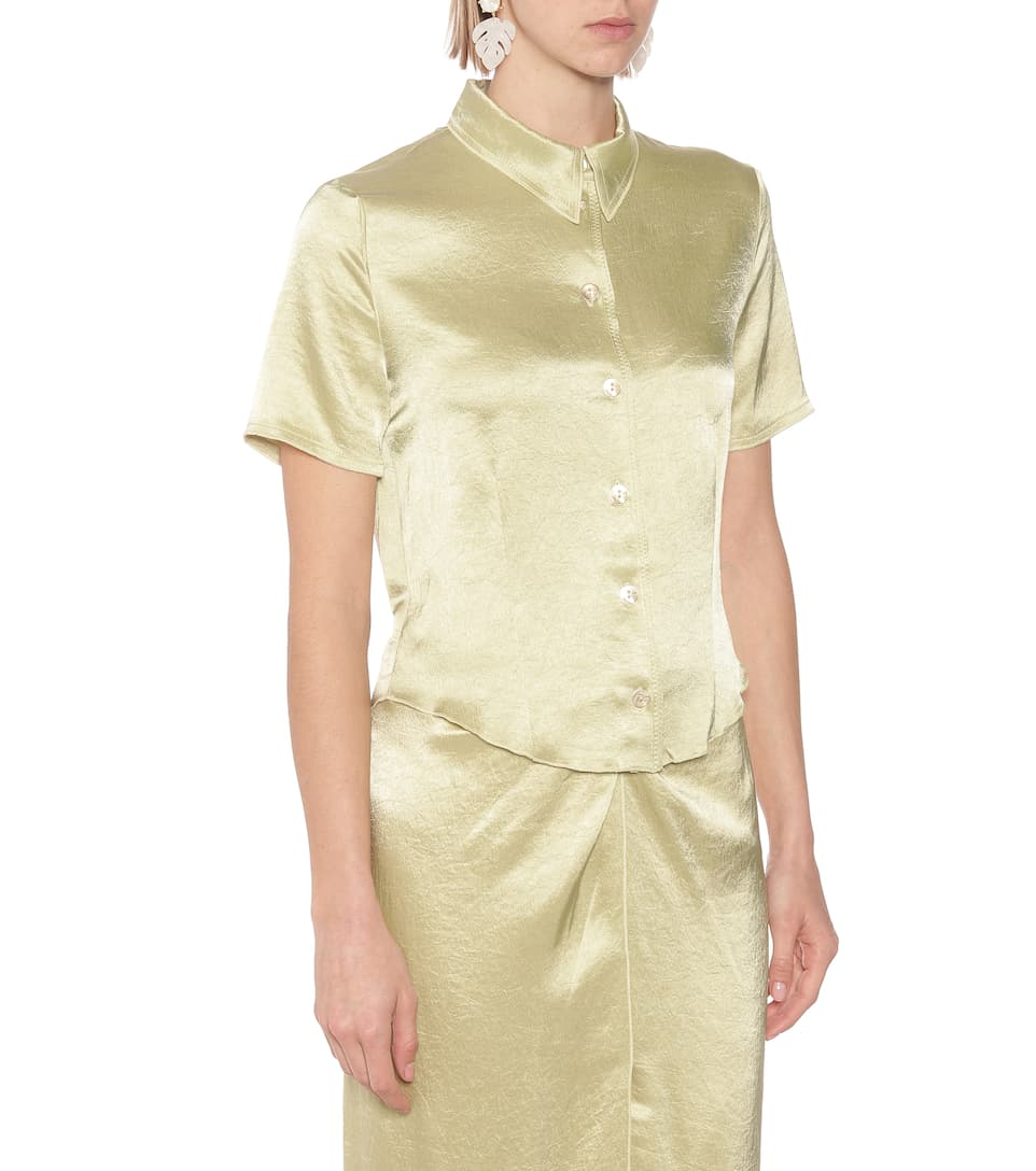 Clare Hammered-Satin Shirt - Nanushka