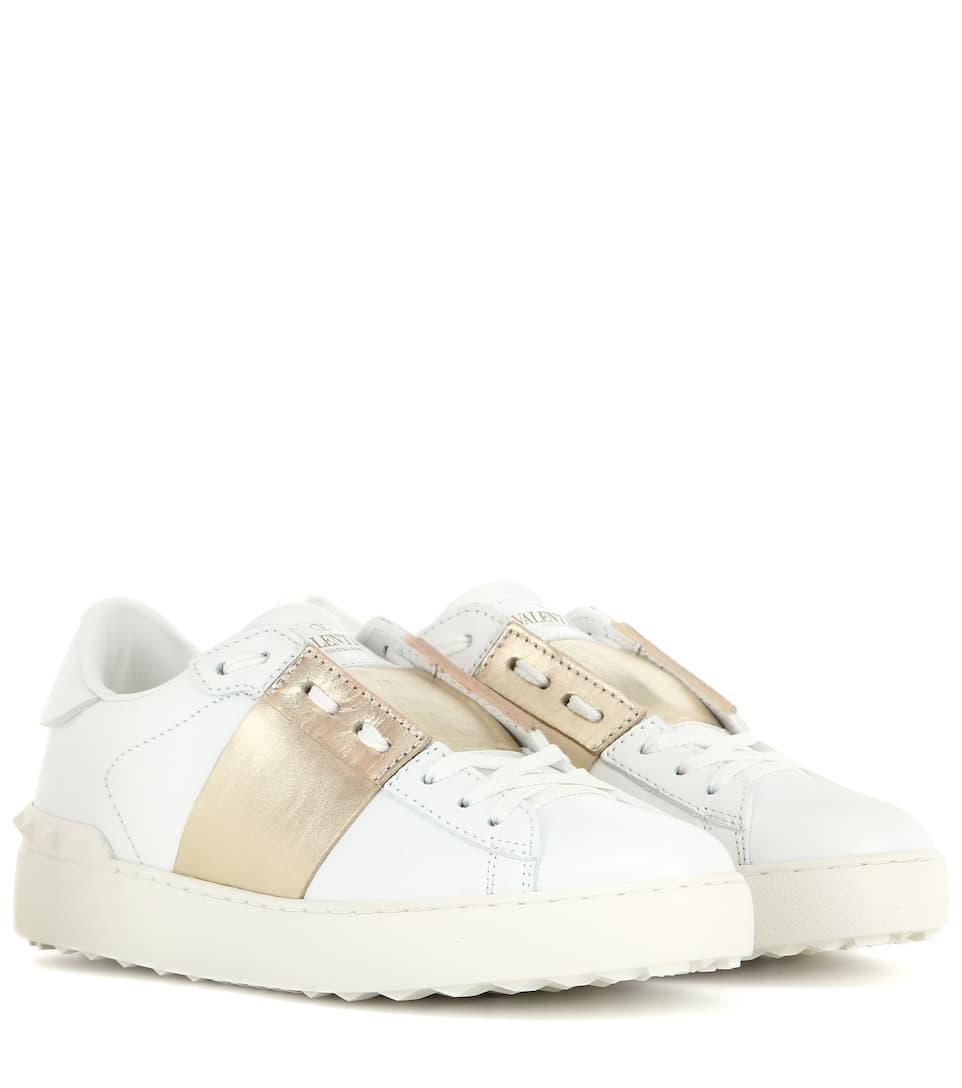 Valentino White & Gold Valentino Garavani Metallic Open Sneakers mhLbgNc