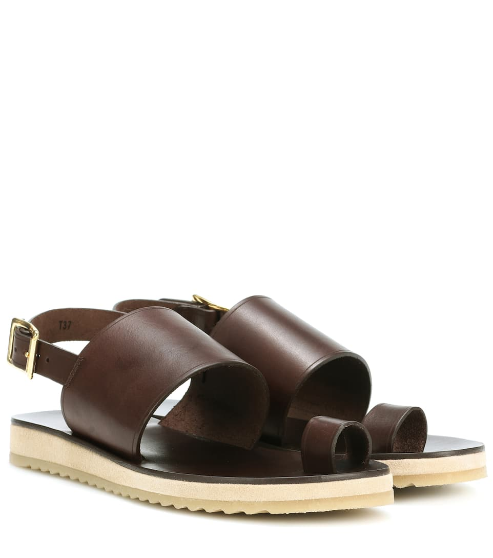 Rome Leather Sandals in Brown