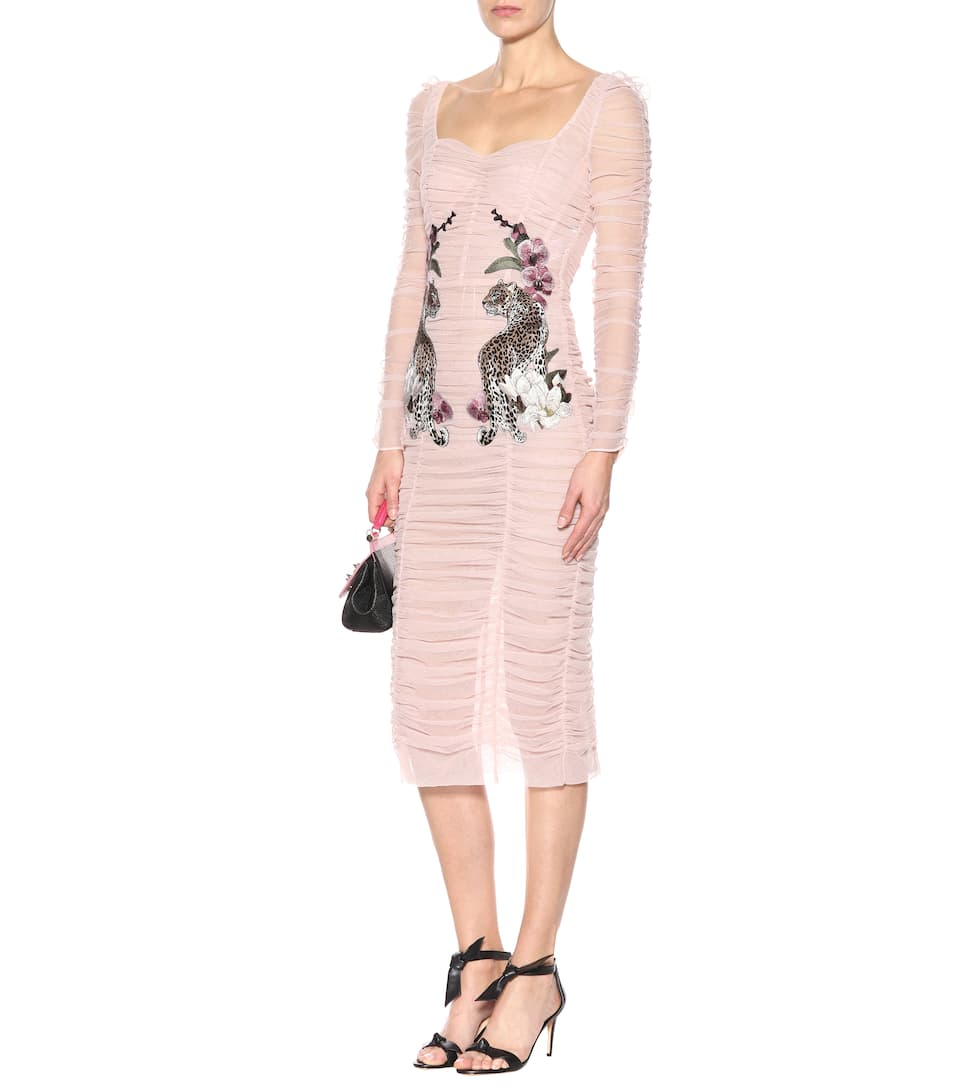 DOLCE & GABBANA Long-Sleeve Ruched Tulle Cocktail Dress W/ Leopard ...