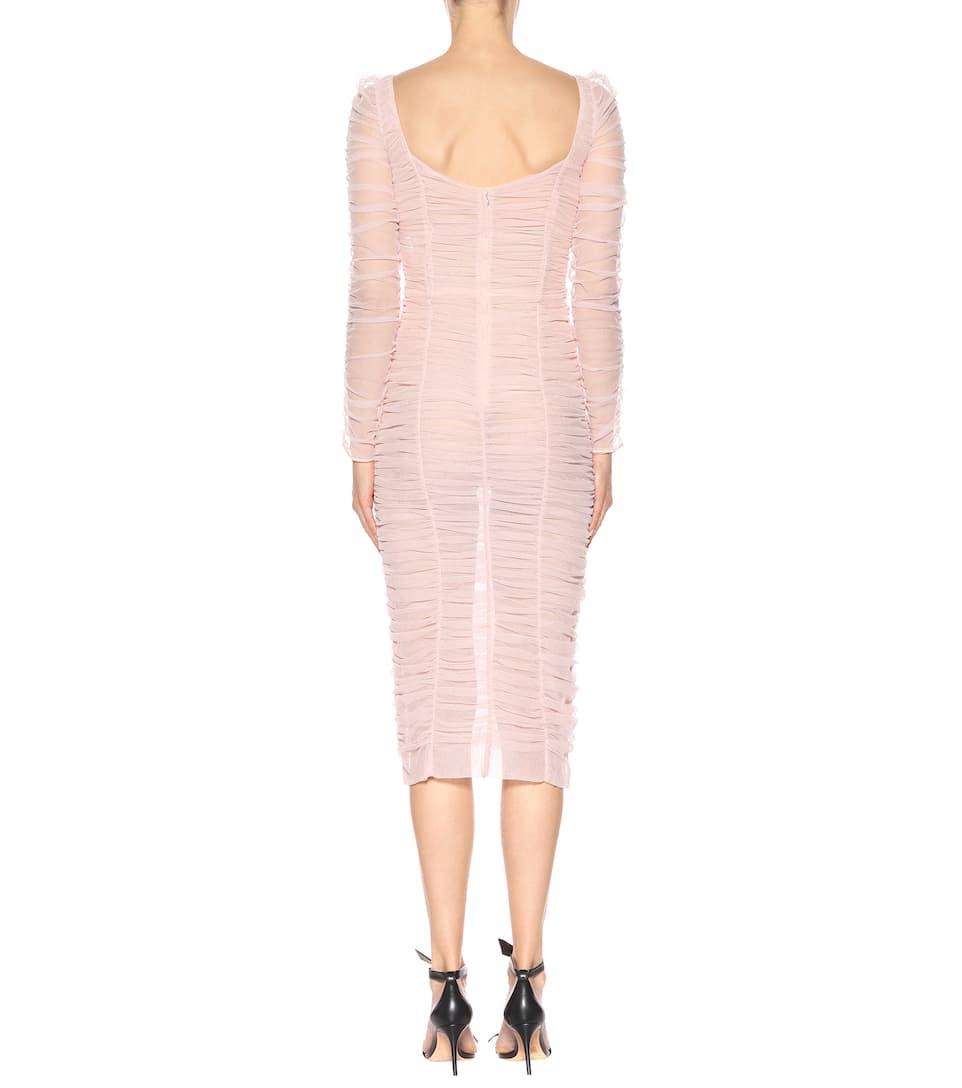 Dolce & Gabbana Kleid aus Tüll mit Baumwollanteil und Stickerei