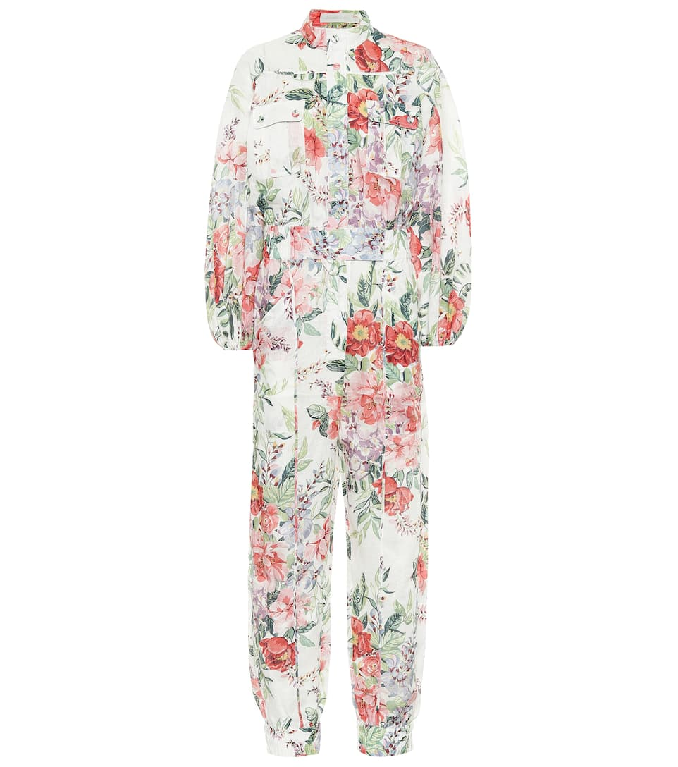 cotone Tagliare Ministro  Zimmermann - Jumpsuit a stampa floreale in lino | Mytheresa