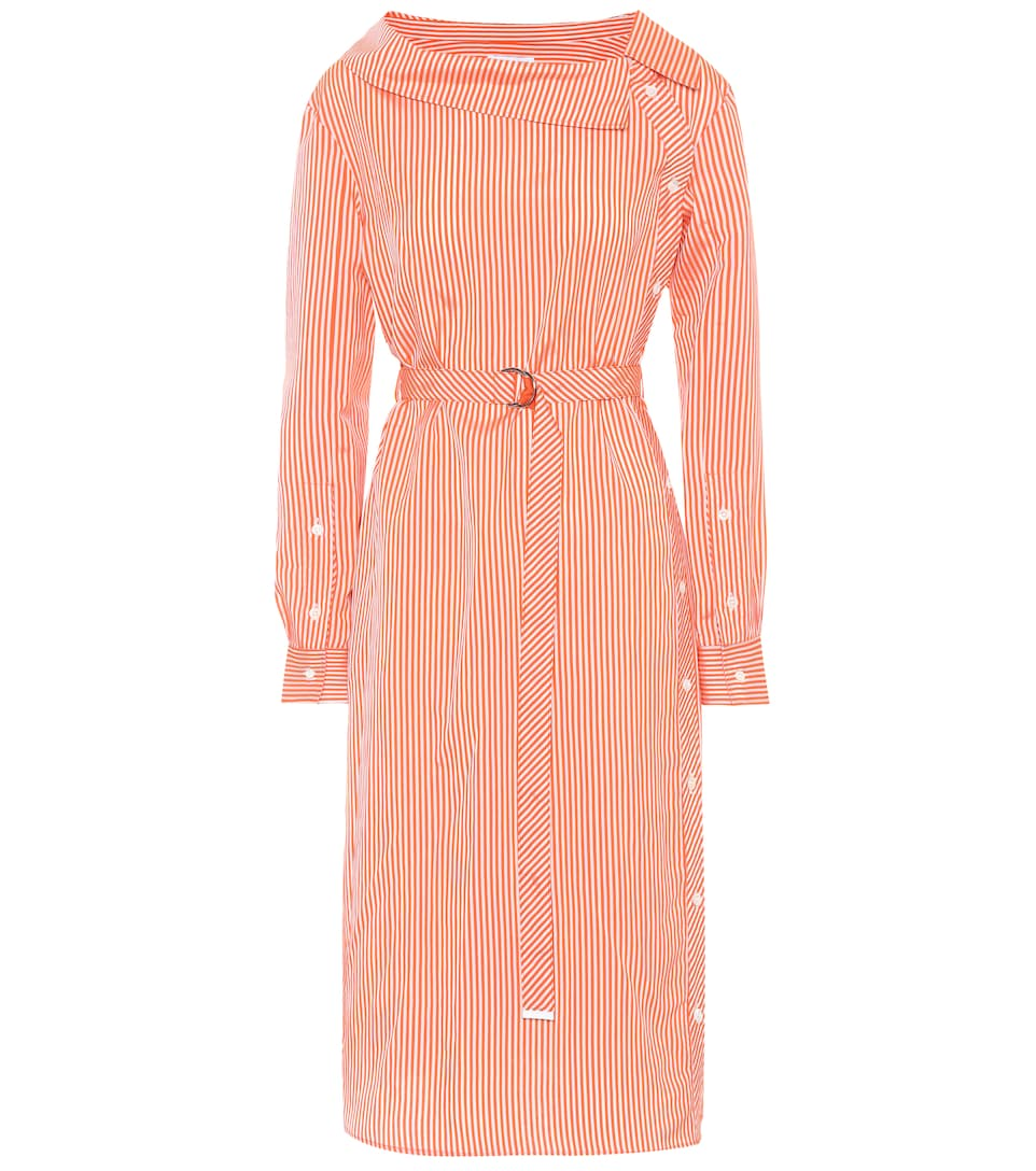 Woman Albany Belted Striped Satin Midi Dress Orange in Red