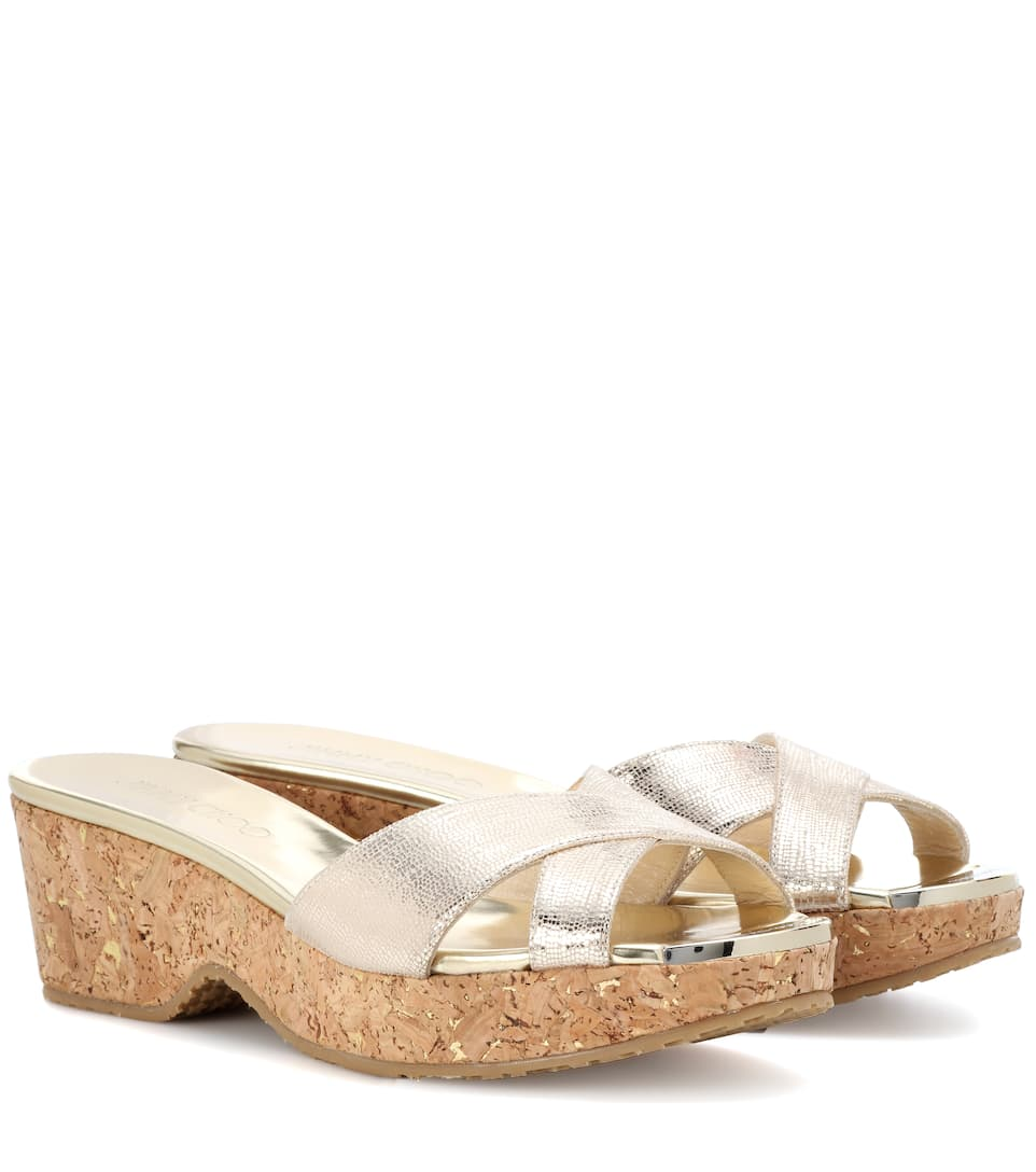 Jimmy Choo Panna leather slip-on sandals Gold Newest Sale Online Sexy Sport Find Great For Sale OBCdfmurz