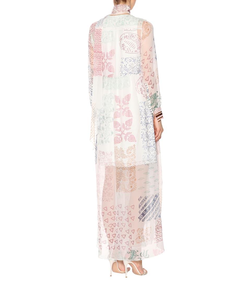 Chloé Bedrucktes Wickelkleid aus Seidenchiffon