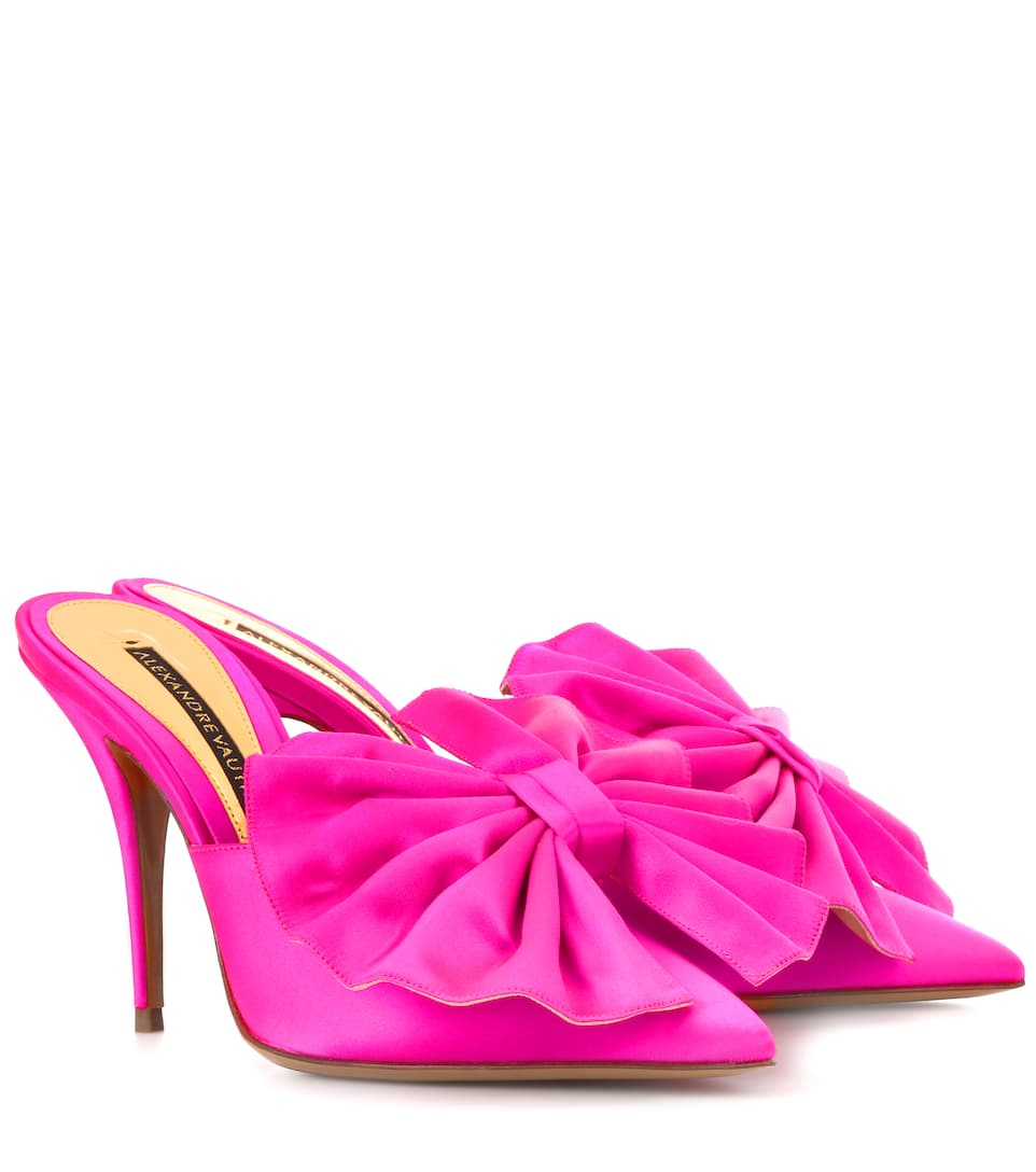 Kate Bow-Embellished Satin Mules in Pink