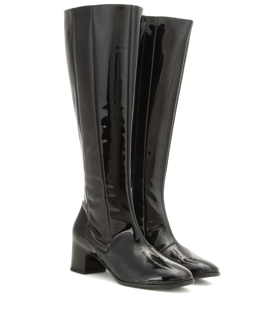 3c295f9dde9 Balenciaga - Patent leather knee-high boots | Mytheresa