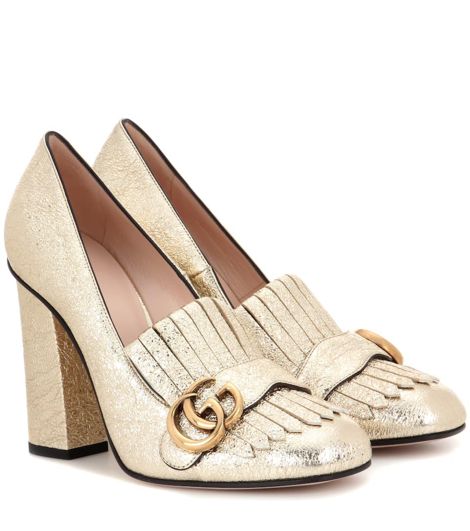 Metallic leather loafer pumps Gucci l6Z0HGLK