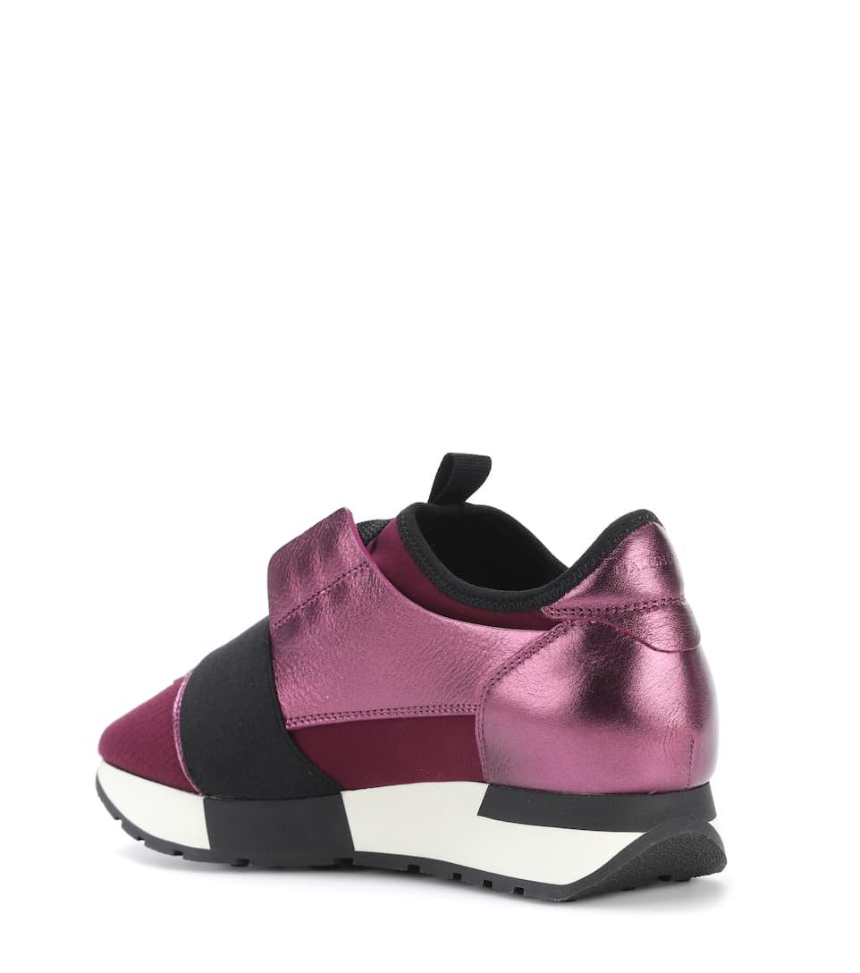 Balenciaga Sneakers Race Runner aus Metallic-Leder