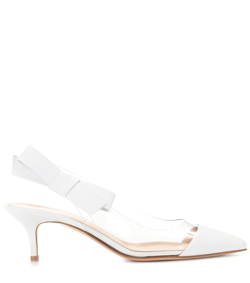 cheap fake collections online Gianvito Rossi Mia leather and plastic pumps MJCBTD