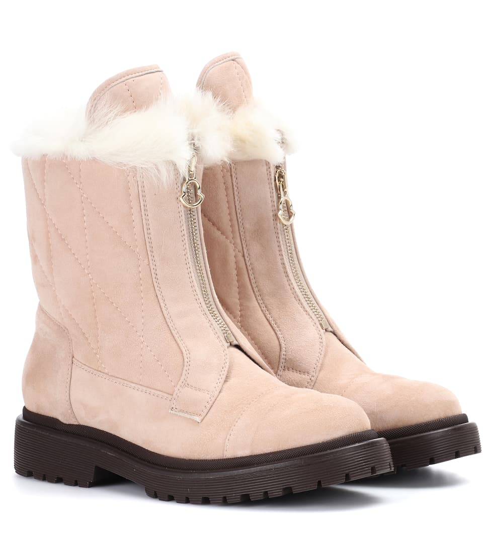 Alexandra Fur Lined Suede Ankle Boots by Moncler