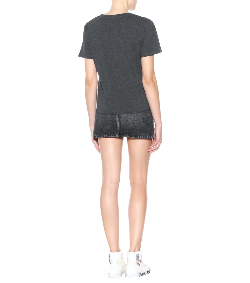 T-shirt En Coton Imprimé Saint Laurent