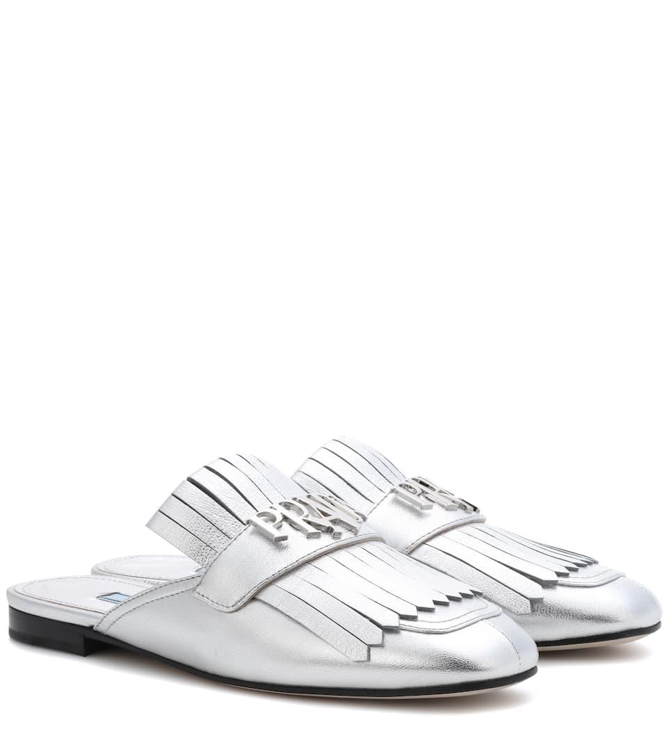 Prada Slippers aus Metallic-Leder