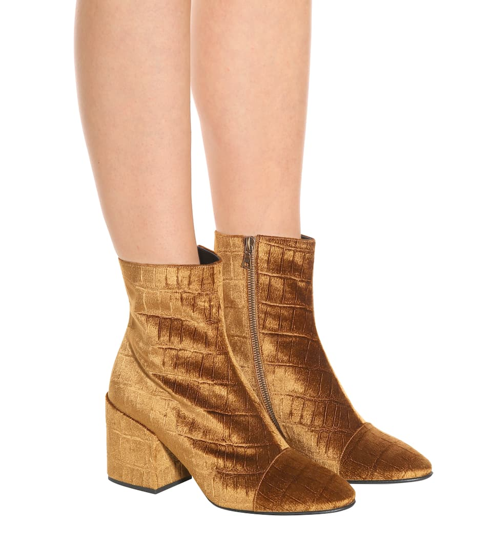 Dries Van Noten Velvet ankle boots Tan For Sale Free Shipping 100% Guaranteed Cheap Price Best For Sale Free Shipping Clearance Store bJIUj