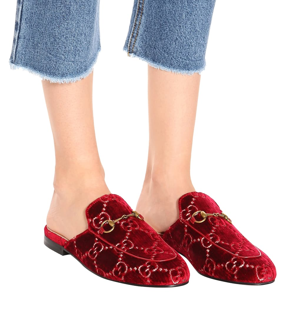 20ad487b023 Princetown Gg Velvet Slippers - Gucci