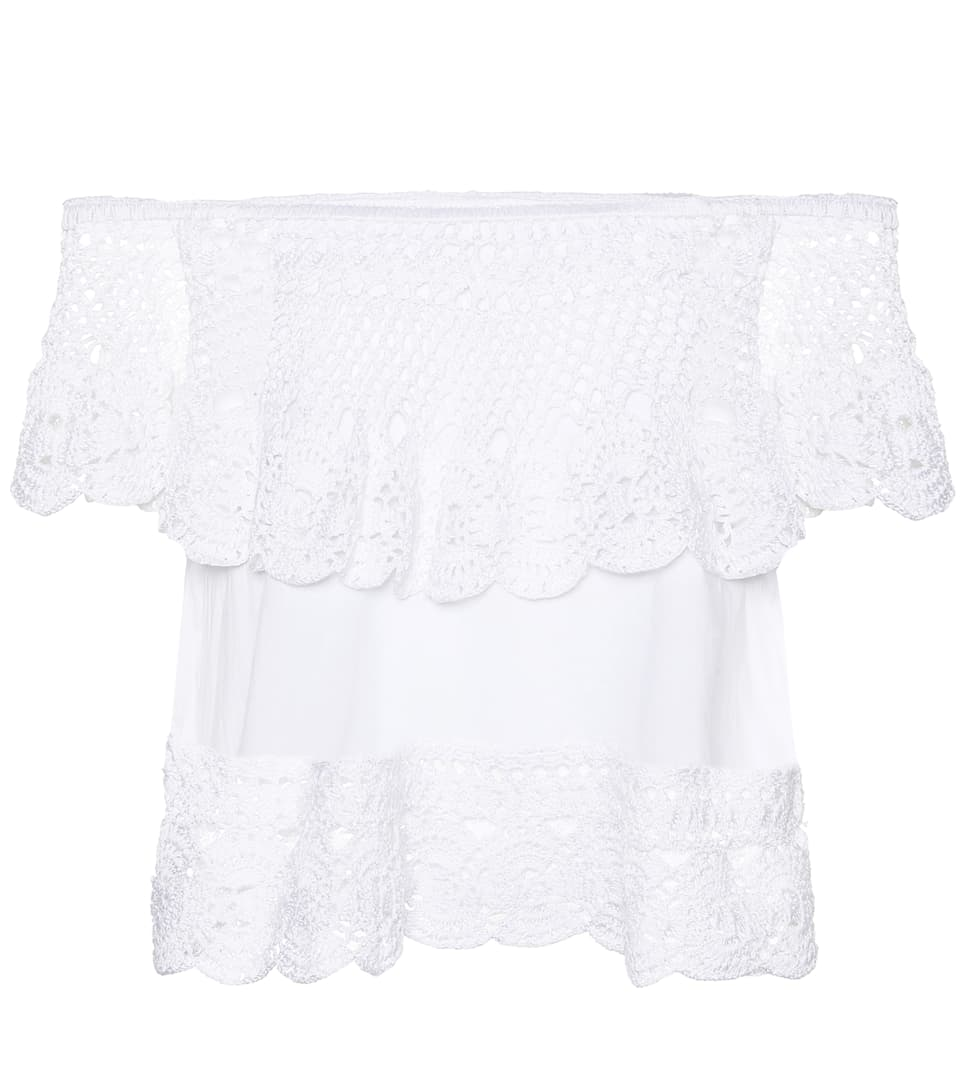 Anna Kosturova Off-shoulder-top Santorini Of Cotton