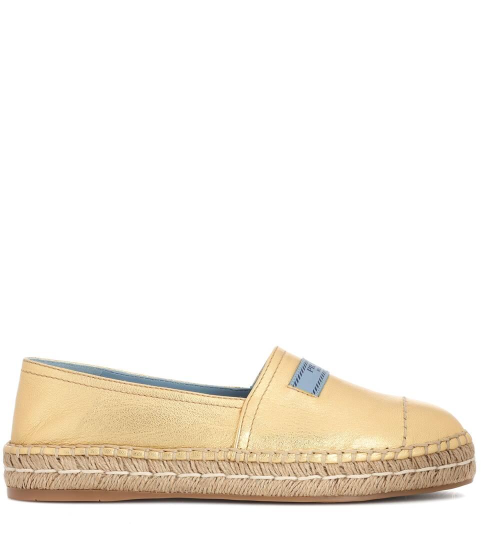 Billig Mit Kreditkarte Günstig Kaufen Neuesten Kollektionen Prada Espadrille-Sandalen aus Leder oMaXlYT