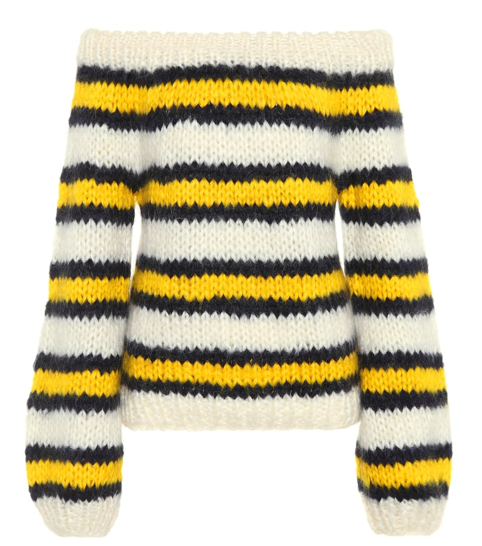 JULLIARD OFF-THE-SHOULDER STRIPED MOHAIR AND WOOL-BLEND JUMPER