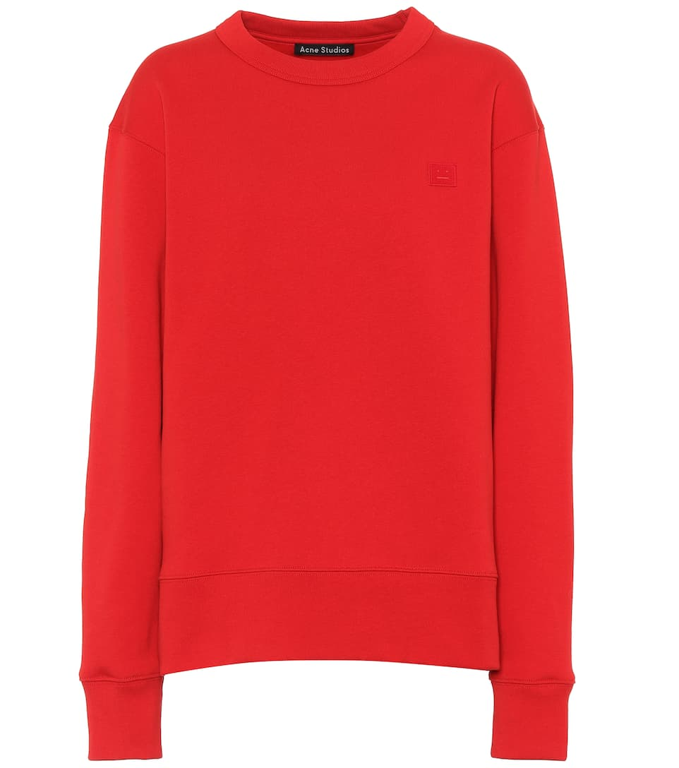 Fairview Face Cotton-Jersey Sweatshirt, Red