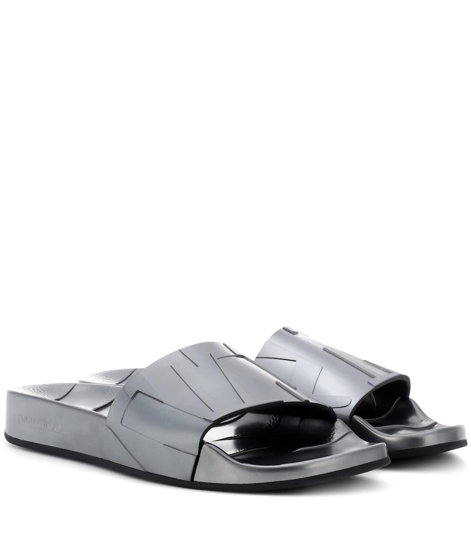 460a2e36c85 Jimmy Choo Rey Slide Sandals In Metallic | ModeSens