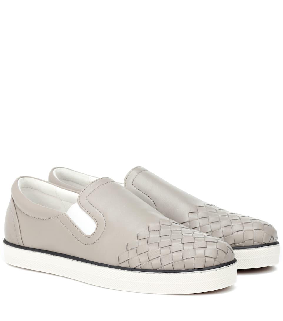 Intrecciato Leather Slip On Sneakers by Bottega Veneta