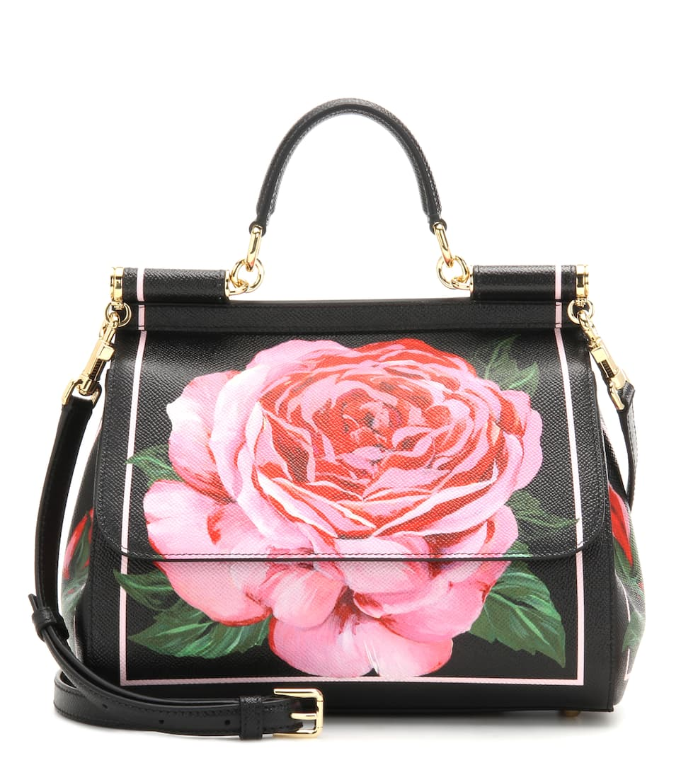 Dolce & Gabbana Miss Sicily Small printed leather shoulder bag