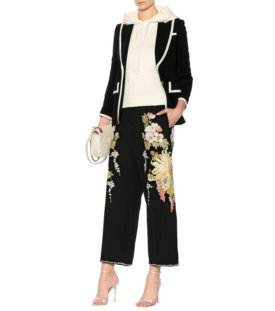 Kostenloser Versand Zu Kaufen Suche Zum Verkauf Gucci Bestickte Wollhose mit weitem Bein Angebote Günstigen Preis ZePAFw