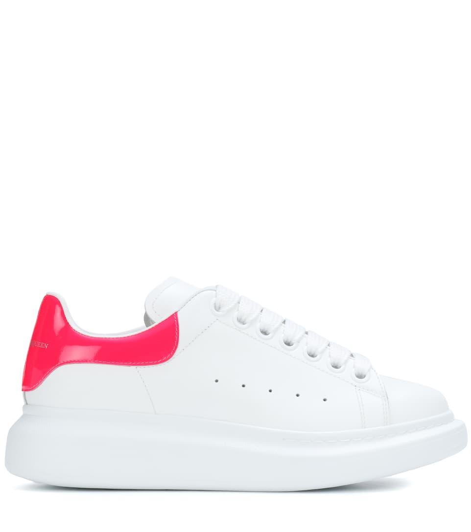 Alexander plataforma Blanco cuero Zapatillas McQueen Rosa brillante de de rABwqrxYt