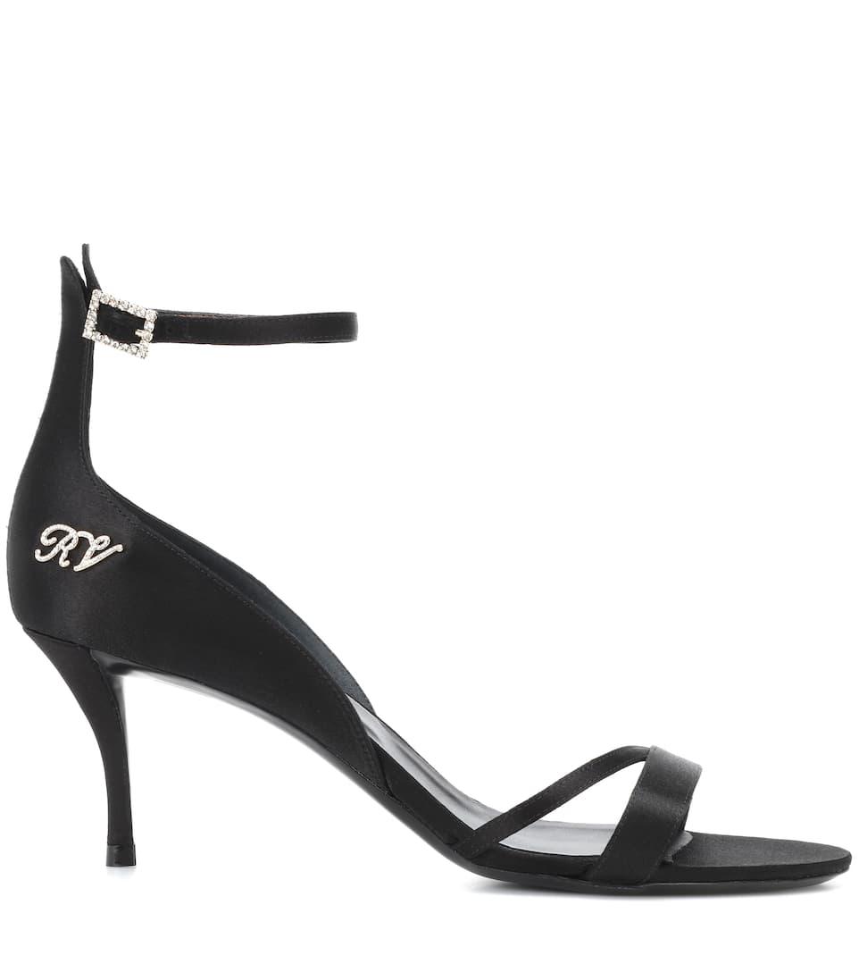 Roger Vivier Verzierte Sandalen Ankle Strap aus Satin