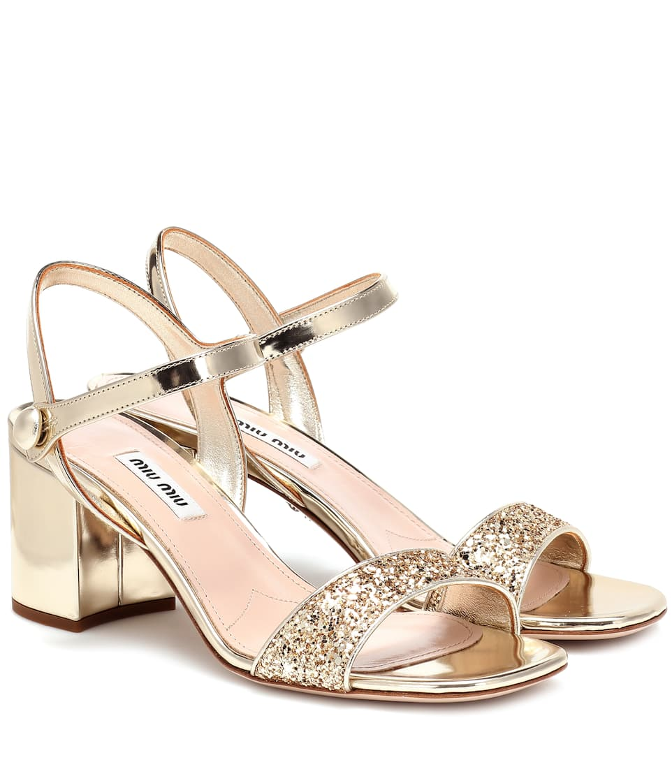 Miu Miu - Exclusive to Mytheresa – Glitter metallic leather sandals