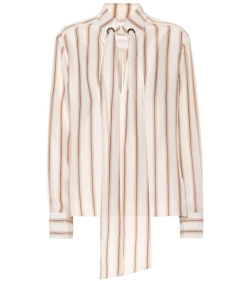 4651cecb305 Striped Silk Satin Blouse - Chloé | mytheresa