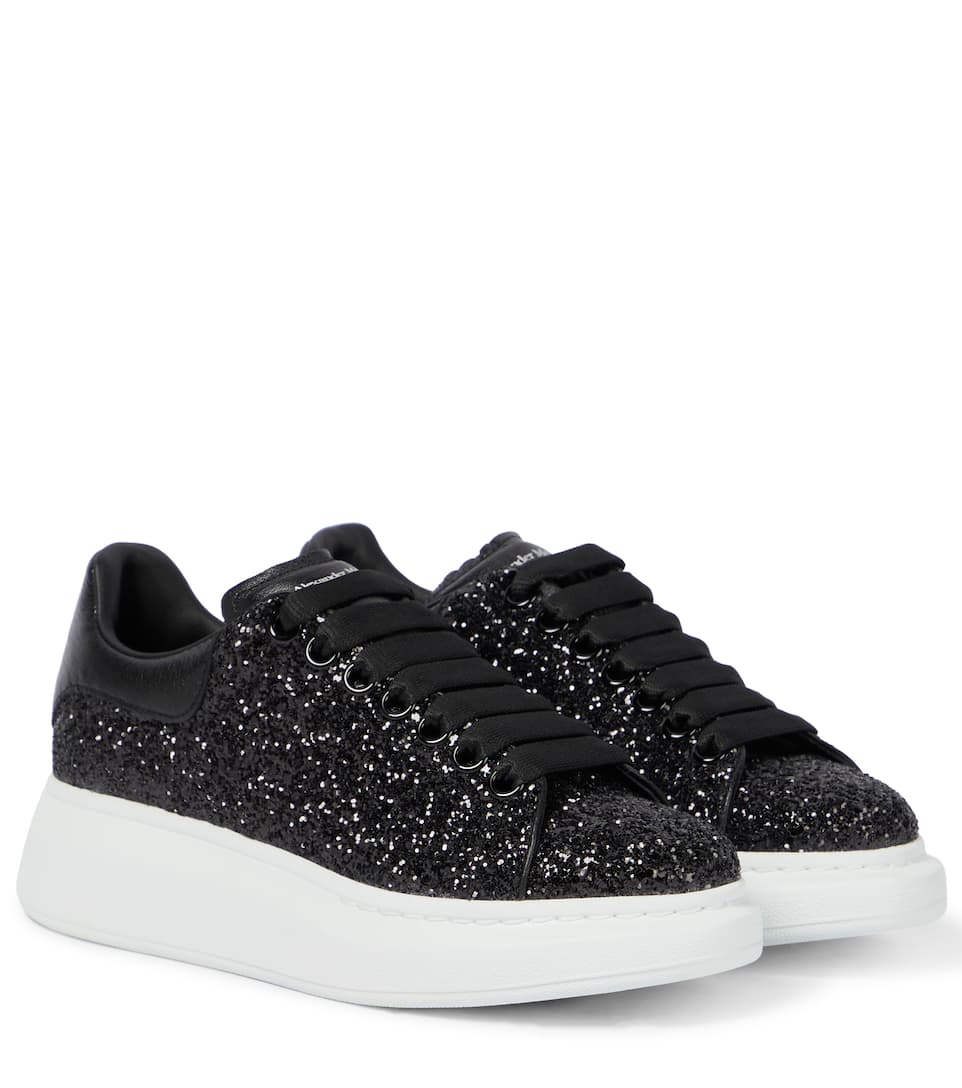 Glitter leather platform sneakers