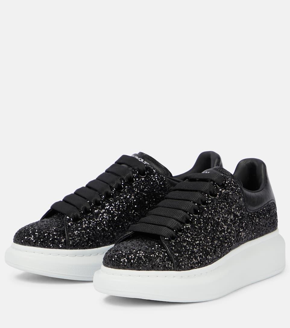 Glitter Leather Platform Sneakers